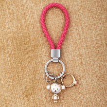 MILESI Lovers Keychain Monkey Pendant Ring Rhinestone women cute Key Finder couple Christmas Gift Creative New fashion K0197(China)
