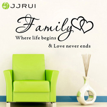 JJRUI Wall Art Quote Wall Sticker Family where life begins Vinyl Home Decal DIY Home Decoration for Bedrooms(China)