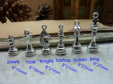 5 Set (30 pcs) Chess Piece Charms Antique Silver Tone 3D Chess Charms - Pawn,Rook,Knight,Bishop,Queen,King - Free Shipping