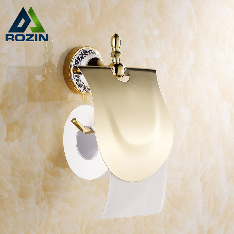 Free Shipping Wholesale And Retail Blue and White Porcelain Base Wall Mounted Toilet Paper Holder Brass Roll Paper Rack W/ Cover<br><br>Aliexpress