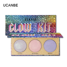 UCANBE 3 colores duocromo cristal Highlighter polvo paleta Multi-uso holográfico Kit de maquillaje brillo cara acabado(China)