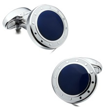 Brand HAWSON Luxury Mens Cufflinks High Quality Wedding Cuff links Silver Plated Designer Personalized Cuff link for Sale Navy