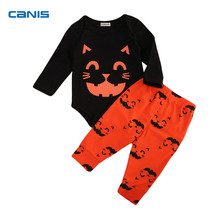 Halloween Newborn Baby Boy Girl Clothes Cute Cat Face Print Romper Jumpsuit + Long Pants Outfits Set Festival Baby Gift 0-24M(China)