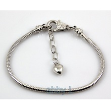 10 pcs /Lot 18KGP Plated Lobster Clasp Snake Chain Charm Heart bracelets & bangles For European Beads PP17