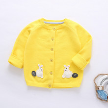 Baby Girl Knit Sweaters 2017 New Spring/Autumn Single Breasted Crochet Cardigan Rabbit Patterns Coat Toddler Kids Sweater