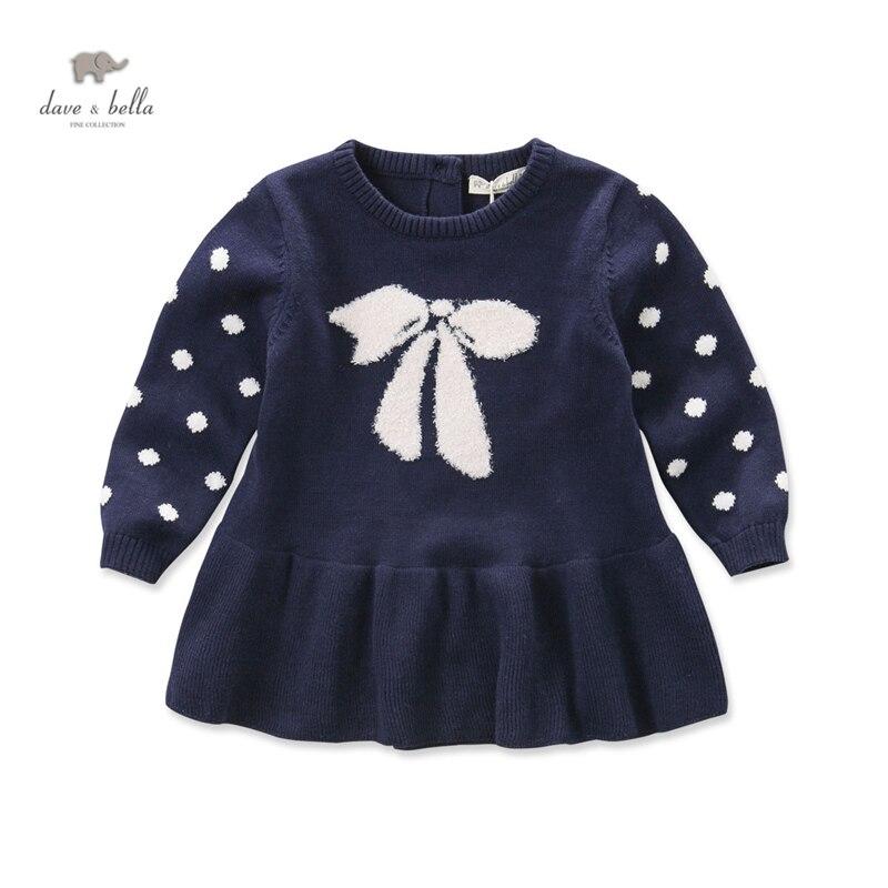 DB4116 dave bella autumn fall baby girl bow jacquard dress pink dots  navy dress<br>