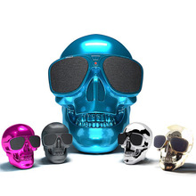 Fashion mini Skull Sunglasses Bluetooth Ghost speaker portable woofer 3D stereo Radio FM caixa de som portatil alto falante 2017(China)