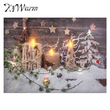 Christmas Snow Landscape Candles Light Up LED Canvas Painting Art Picture Mural for Home Living Room Hotel Wall Decor Gifts