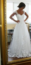 Haotaitai Real Picture Custom Made Back See Through Tulle With Appliques Sexy Wedding Dress Bridal Dress