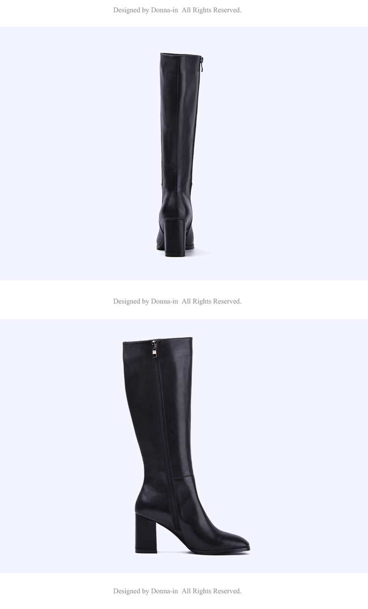 Donna-in elegant square toe high boots genuine leather women boots thick high heel ladies boots inside zipper knee-high boots 15325-7 (12)
