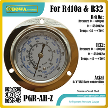 High pressure HFC refrigerant Pressure Gauge for R410a and R32 gas installed in Heat pump, dry chamber & water temperature units(China)