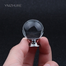 10pcs/packs 30mm of Smooth Crystal Glass Handle Kitchen Supplies Drawer Cabinets Wardrobe metal accessories knobs YZ-2010(China)