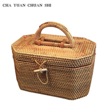 Chayuanchuanshi Vietnamese Rattan Weave Octagon Portable Make Up Storage Box with Inside Cloth Storage Basket Pu'er tea cans(China)