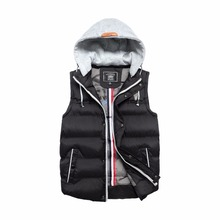 Brand Men Vest Winter Military Casual Vest Jackets Fashion Simple Zipper Males Hooded Winter Coats 8801(China)