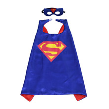 1set Blue Superman Mask Cloak Super Hero Batman Spiderman Hulk Thor IronMan Kids Birthday Costume Cosplay Party Decor Supplies