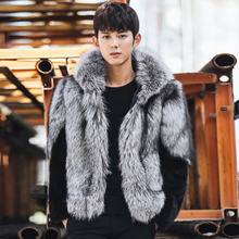 2016 Winter Men Faux Mink Fur Hooded Faux Fox Fur Coats Male Patchwork Zipper Fur Outerwear Casual Plus Size Fur Jacket 4XL W861