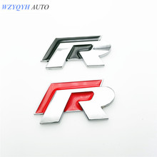 Car Chromed Emblem Badge Decal Sticker R Racing Logo For Volkswagen VW Golf 5 6 7 Polo CC Scirocco SAGITAR passat jetta