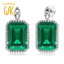 hot sell 925 Sterling Silver Earrings 13.03 Ct rectangle Green Simulated Emerald White Diamond fashion jewelry classics earbob