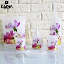 SDARISB Bathroom Accessories China Flowers Bath Set Pink Soap Box Soap Storage Toilet Brush Multi-piece Sets Plastic Beautiful
