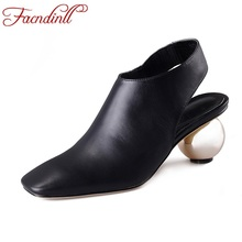 brand summer shoes 2017 concise fashion design square toe ball heel black genuine leather woman pumps high heels lady dress shoe