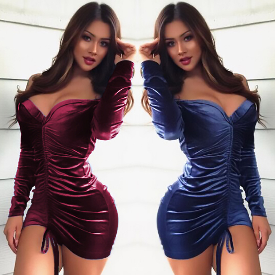 Sexy Off Shoulder Velvet Dress Women Spring Party ...