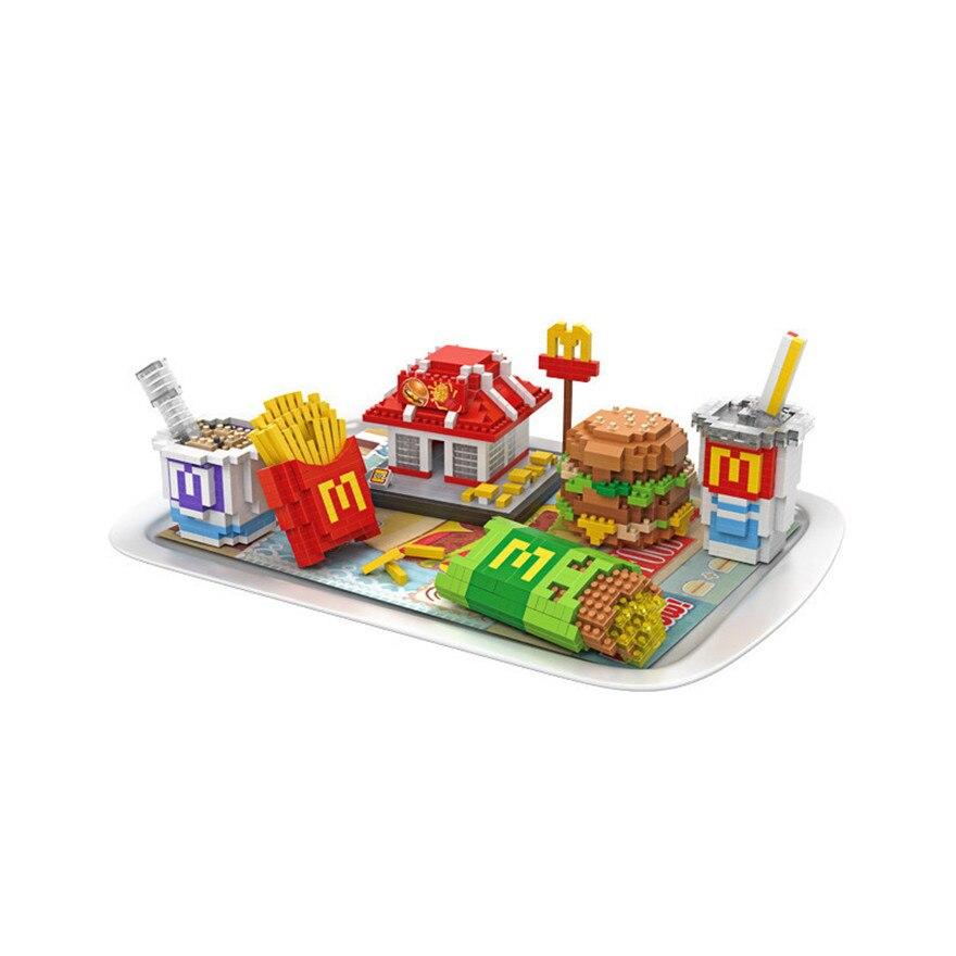 Mini Nano Blocks McDonald Food LOZ Building Blocks Hamburger Fries Action Figure Diamond Blocks Compatible with 9391<br>