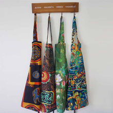 Home Kitchen Cookint Women Man Apron Flower Printed Ethnic Style Aprons With Pocket Personality Housewife Cotton and Linen Bibs(China)