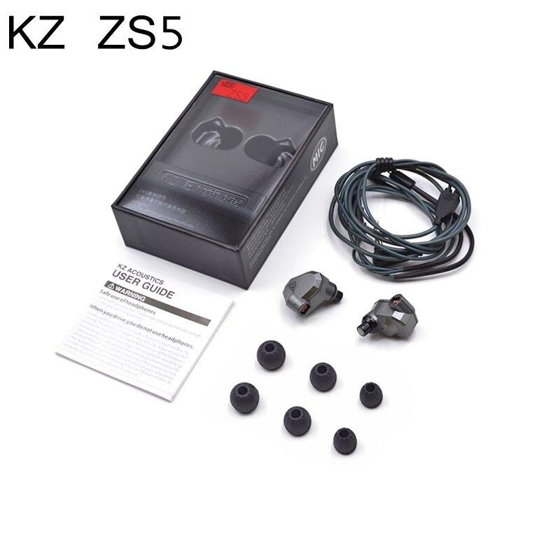 Original KZ ZS5 HIFI Earphones 2DD+2BA Hybrid In Ear DJ Monito Super Bass Earplug Headsets Stereo Surround Earbuds For iPhone<br>