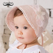 Spring Cap Summer Sweet Princess Hollow Baby Girls Hat Lace-up Beanie Cotton Bonnet Enfant Kids Flower Beanie Lace Floral Cap(China)