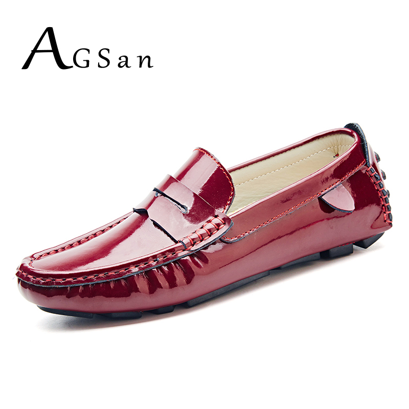 AGSan men penny loafers patent leather moccasins burgundy size 47 46 45 driving shoes men 11 10.5 10 9.5 leather loafers white<br>
