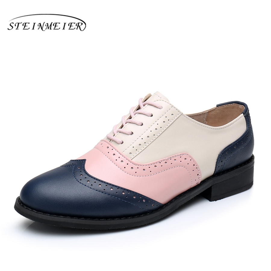 Women flats oxford shoes genuine leather vintage flat shoes round toe handmade blue pink beige 2017 oxfords shoes for women fur<br>