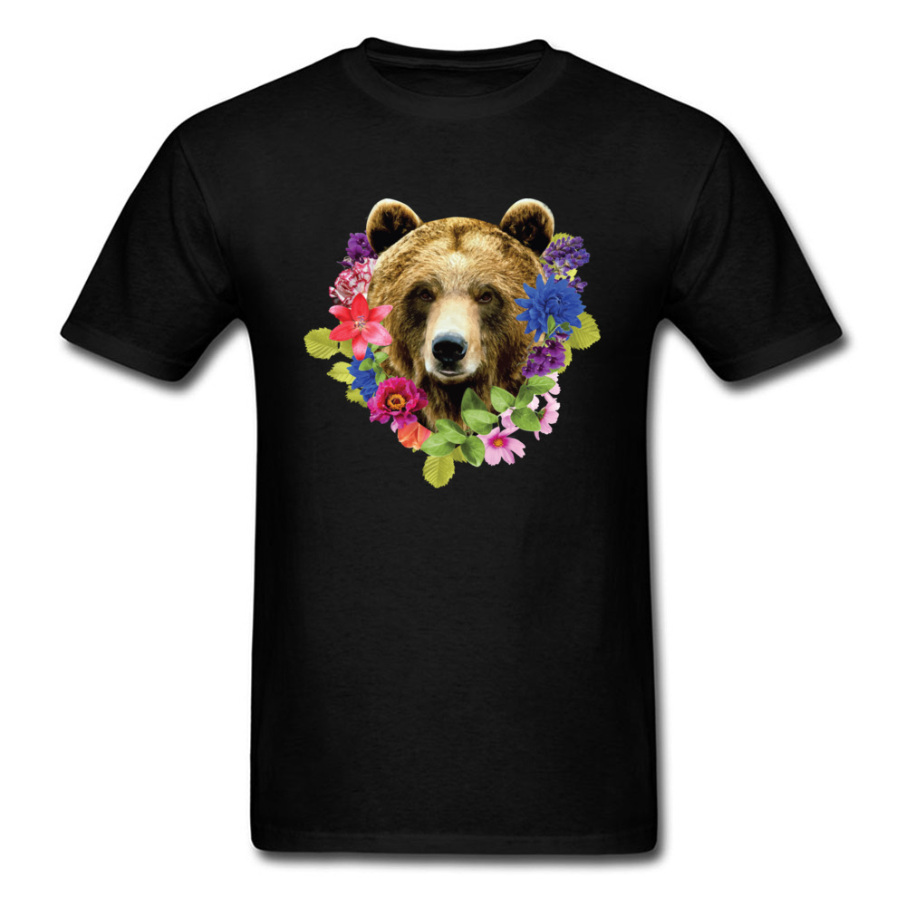 Floral Bearr Mens Fied Classic Tops T Shirt Round Collar Lovers Day Coon T-shirts Summer Short Sleeve Sweatshirts Floral Bearr black