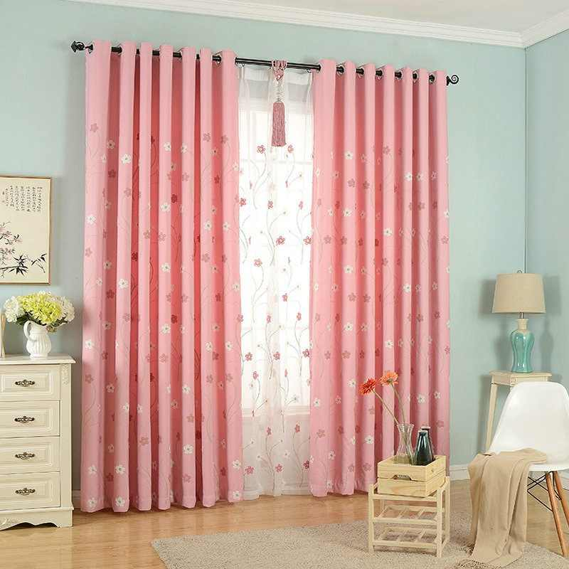Pastoral Pink Blackout Curtains Embroidered Tulle Floral Pattern For Kids/Girls Bedroom Living Room Home Decoration Window Drape