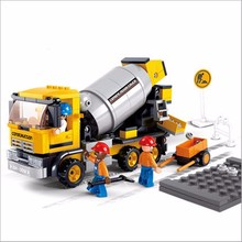 NEW!! 296Pcs/set Contruction Bricks DIY Cement Mixer Truck Building Blocks Kids' Favorite Enlightenment Brinquedos Birthday Gift