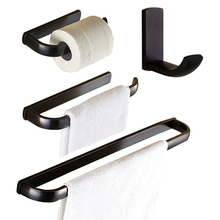 Leyden Toilet Paper Holder Clothes Hook Towel Bar Towel Ring Wall Mounted Bath Hardware Sets Copper Bathroom Accessories Black(China)