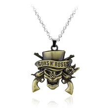 Famous Music Band G N' R Guns N' Roses Necklace Death Logo Skeleton Skull Pendant Necklace Gift For Music Band Fans