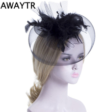 AWAYTR Women Chic Fascinator Hat Cocktail Wedding Party Church Headpiece Fashion Headwear Fancy Feather Black Hair Accessories(China)