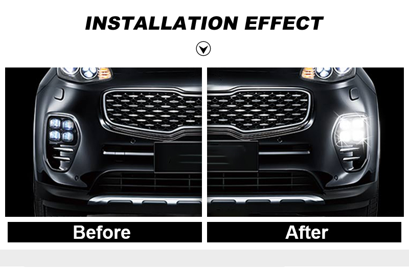 LED Daytime Running Lights DRL For KIA Sportage QL KX5 2016 2017 Car Driving Light Fog Lamp Hole Car-styling Auto Accessories (4)