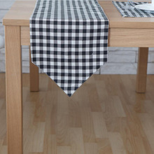 1PC Multi Size Balck White Plaid Linen Dining Table Runners For Home Decor Hotel Coffee Table Decorative Rectangle Table Runner(China)