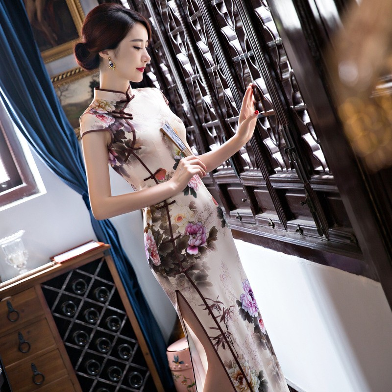 New Arrival Women's Silk Long Cheongsam Fashion Chinese Style Dress Elegant Slim Qipao Tang Clothing Size S M L XL XXL F072641 2