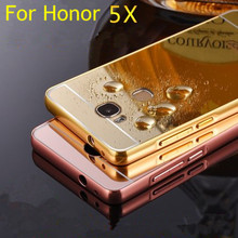 For Huawei Honor 5X X5 GR5 Luxury Aluminum Case Mirror Gold Plating Plastic Hybrid Chrome Cover Capa Funda Coque