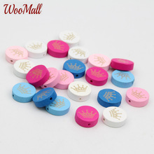 30pcs Crown  Spacer Beading Wood Beads 20mm For Baby DIY Toys Crafts Kids Toys & Pacifier Clip Wooden Beads