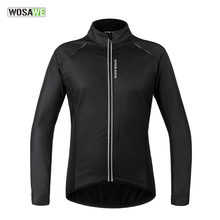 WOSAWE Men Bicycle Cycling Jackets Fleece Lining PU Leather Windproof Windproof Jersey MTB Road Bike Wind Coat Clothing(China)