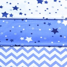 100% cotton NORDIC DARK BLUE STARS chevron ZIGZAG twill cloth DIY for kids crib bedding cushions handwork decor patchwork tissue(China)