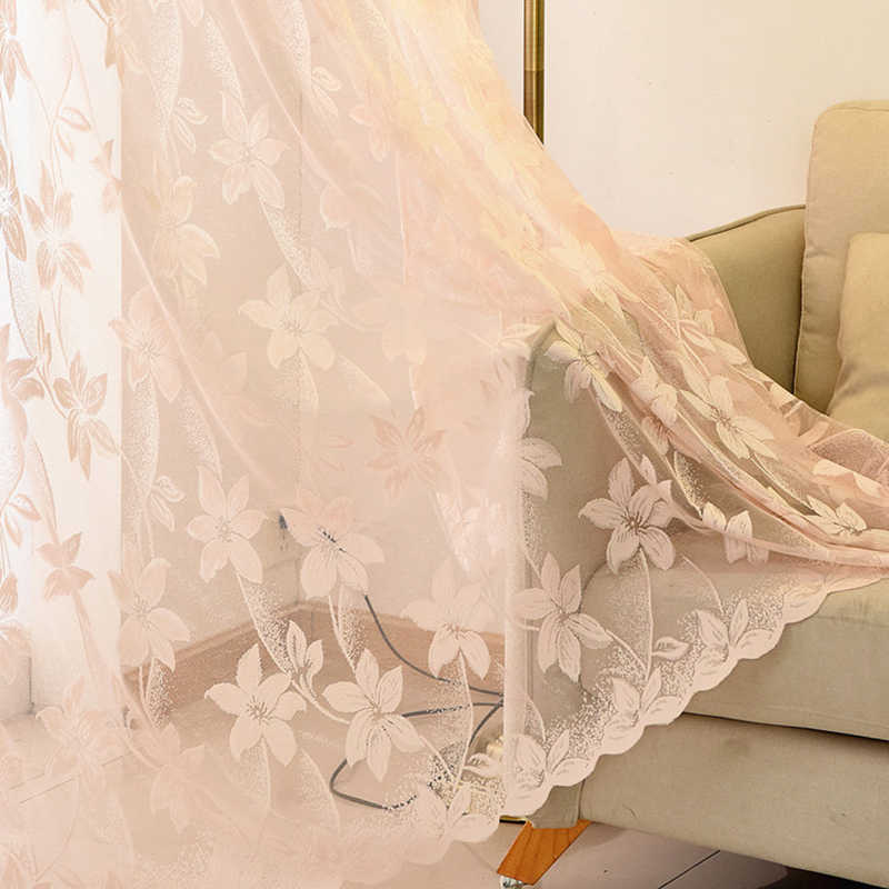 Modern High-End Lace Curtains For Living Room Bedroom Bay Window Kitchen Princess Room cortina renda Sheer Tulle AG063&2