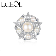 LCEOL Luxurious Circular Framed Shell Pearls CZ Five-pointed Star Brooches Silver Tone CZ Pave Victorian Five Star Broaches