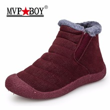 MVP BOY Winter Women Boots Slip-On Waterproof Women Snow Boots, Fur Inside Antiskid Bottom Keep Warm Ankle Rain Boots for Women(China)