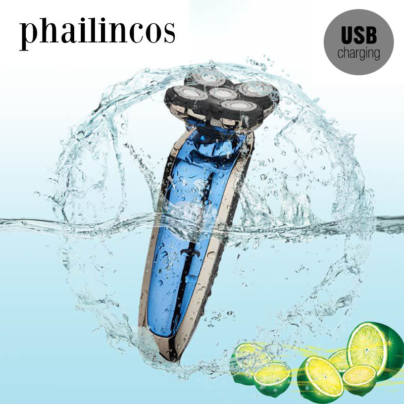 Phailincos 5 Blade Rechargeable LED Electric Shaver Rotate Electric Razor for Men Face Beard Shaving Machine Washable USB Charge<br>