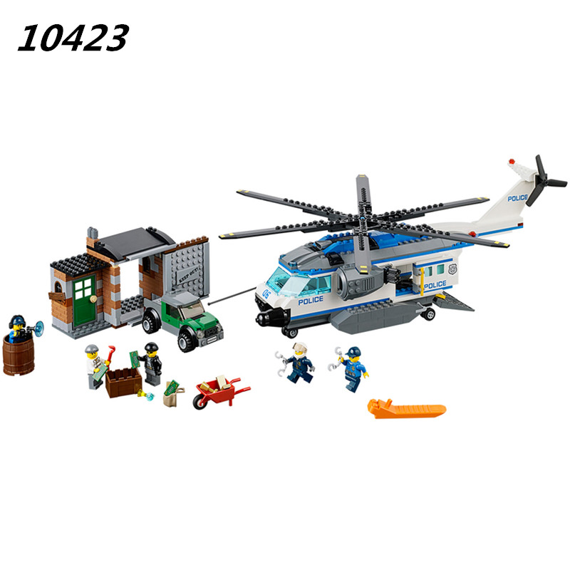 AIBOULLY 2017 NEW 528pcs 10423 City Police Crook Helicopter Surveillance building blocks Toys Compatible with 60046<br>
