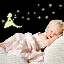 DIY Luminous Sticker Girl Dandelion Glow in the dark Wallpaper For Children's Room Decoration Decals